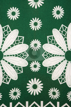 Floral pattern. stock photo, Close-up of vintage fabric with white daisy pattern. by Iofoto Images