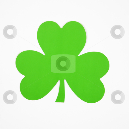 Green paper shamrock. stock photo, Single green paper shamrock on white. by Iofoto Images