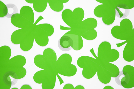 Green paper shamrocks. stock photo, Group of green paper shamrocks on white. by Iofoto Images