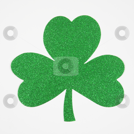 Green glitter shamrock. stock photo, Green glitter paper shamrock on white. by Iofoto Images