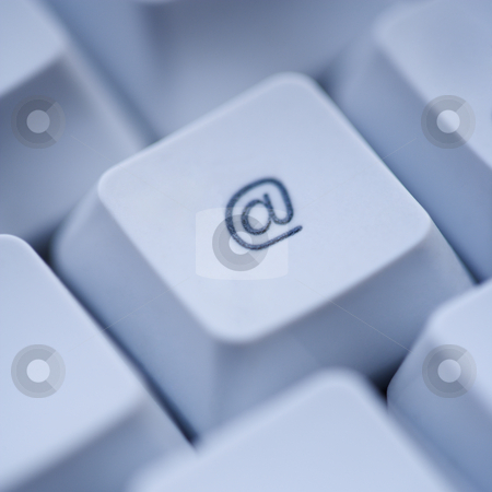 At sign computer key. stock photo, Close up of at sign key on computer keyboard. by Iofoto Images