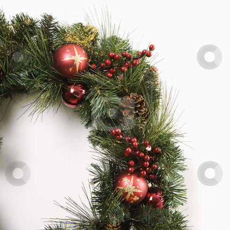 Christmas wreath. stock photo, Christmas wreath on door. by Iofoto Images