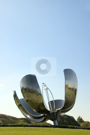 Buenos Aires Flower Sculpture stock photo, Portrait shot of the large metal flower sculpture located in Recoleta, Buenos Aires, Argentina by Lee Torrens