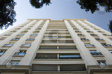 Modern Apartment Building stock photo, Looking up at a modern city apartment building with European style architecture by Lee Torrens