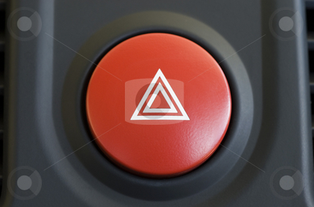 Hazard warning stock photo, A large red hazard warning light button by Stephen Gibson