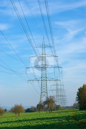 Hochspannungsmasten - High voltage poles stock photo, Hochspannungsmasten - High voltage poles by Wolfgang Heidasch