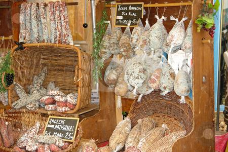 Wurst und Schinken auf dem Markt in Les Vans stock photo, Wurst und Schinken auf dem Markt in Les Vans by Wolfgang Heidasch