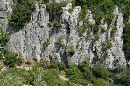 Cliffs in Chassezac, Ardeche Valley, Southern France stock photo, Im Tal des Chassezac (Ardeche) S?dfrankreich by Wolfgang Heidasch