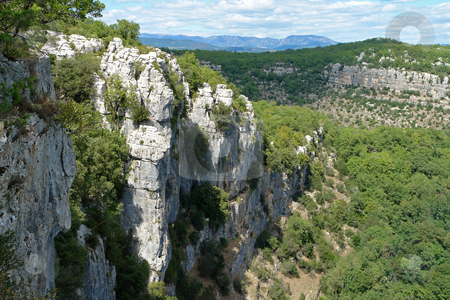 Rocky Cliffs in Chassezac, Ardeche Valley, Southern France stock photo, Im Tal des Chassezac (Ardeche) S?dfrankreich by Wolfgang Heidasch
