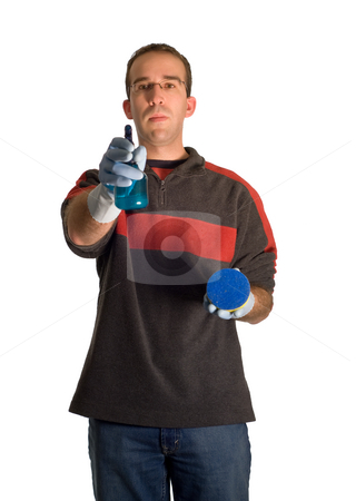 Cleaning Man stock photo, A young male wearing rubber gloves, doing some cleaning, isolated against a white background by Richard Nelson