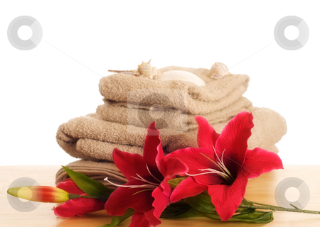 Spa Table stock photo, Some artificial lilies resting beside some towels along with some seashells by Richard Nelson