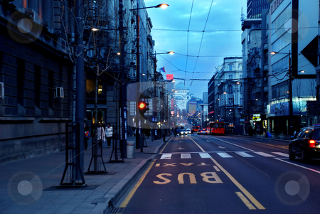Evening Belgrade cityscape stock photo, Urban landscape of evening street in Belgrade, Serbia by Julija Sapic