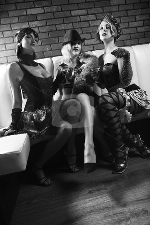 Three retro women. stock photo, Three retro prime adult Caucasian females out on the town. by Iofoto Images