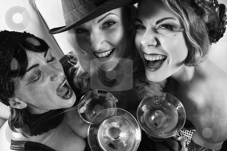 Three retro women drinking. stock photo, Three retro prime adult Caucasian females out on the town. by Iofoto Images