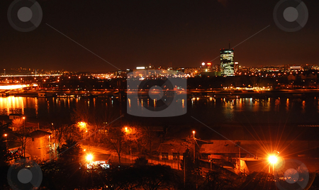 Belgrade night view stock photo, Cityscape of night illuminated Belgrade, Serbia over river by Julija Sapic