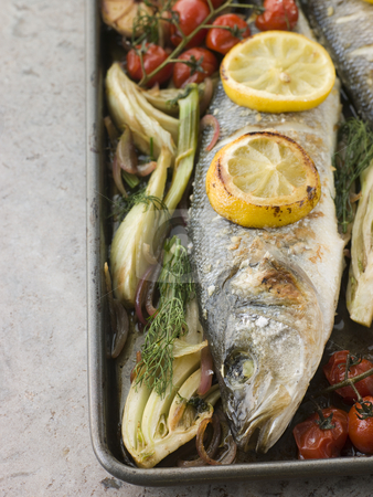 Whole Sea Bass Roasted with Fennel Lemon Garlic and Cherry Tomat stock photo, Pan of Whole Sea Bass Roasted with Fennel Lemon Garlic and Cherry Tomatoes on the Vine by Monkey Business Images