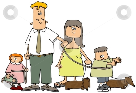 Family On A Leash stock photo, This illustration depicts a husband and wife with their children and dogs on leashes by Dennis Cox