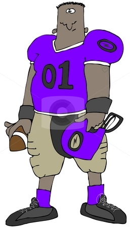 Football Player stock photo, This illustration depicts a football player holding his helmet and a ball. by Dennis Cox