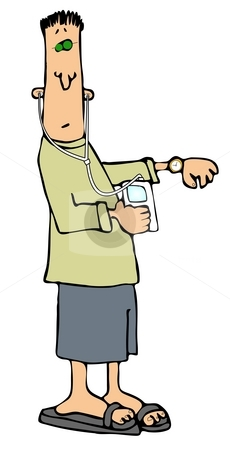 Man Checking His Watch stock photo, This illustration depicts a man listening to headphones and checking his watch. by Dennis Cox