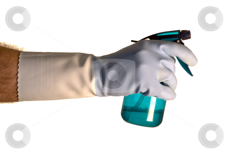 Cleaning Solution stock photo, A hand wearing a rubber glove holding a bottle of cleaning solution by Richard Nelson