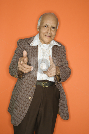 Man in retro suit. stock photo, Caucasian adult mature male in retro suit.
