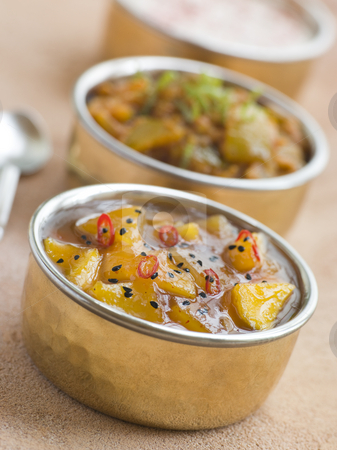Mango Chutney with Lime Pickle and Raita stock photo,  by Monkey Business Images