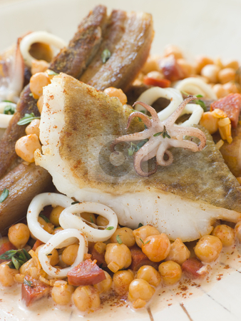 Pan Fried Cod Fillet and Baby Squid with Braised Belly Pork and  stock photo,  by Monkey Business Images