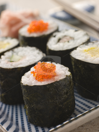 Small Rolled Sushi on a Plate stock photo, Selection of Small Rolled Sushi on a Plate by Monkey Business Images