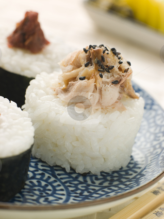 Sushi Rice Balls with Smoked Mackerel and Ameboshi Paste stock photo, Plate of Sushi Rice Balls with Smoked Mackerel and Ameboshi Paste by Monkey Business Images
