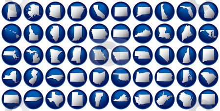 50 states button set stock vector clipart, Very detailed buttons of all fifty states. States are organized alphabetically let to right, top to bottom. by Adrian Sawvel