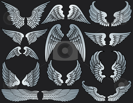 Angel Wings stock vector clipart, Twelve Sets of Angel Wings by Adrian Sawvel