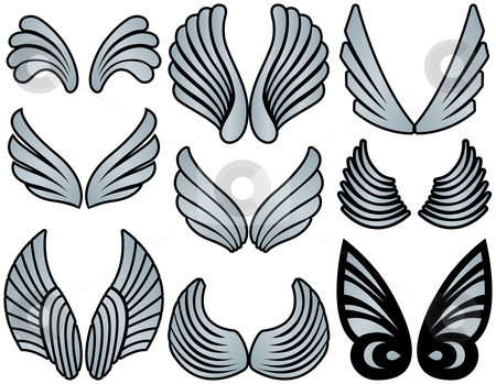 Stylized Angel Wings stock vector clipart, Nine Sets of Silver Filled Stylized Angel Wings by Adrian Sawvel