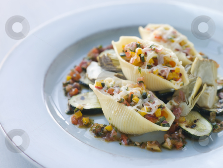 Conchiglioni Pasta filled with Mediterranean Vegetables and Baby stock photo,  by Monkey Business Images