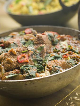 Karai Dish with Lamb Methi Gosht and Vegetable Pilau stock photo, by ...