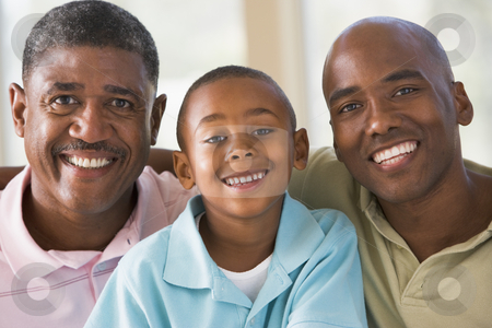 Grandfather with adult son and grandson stock photo,  by Monkey Business Images