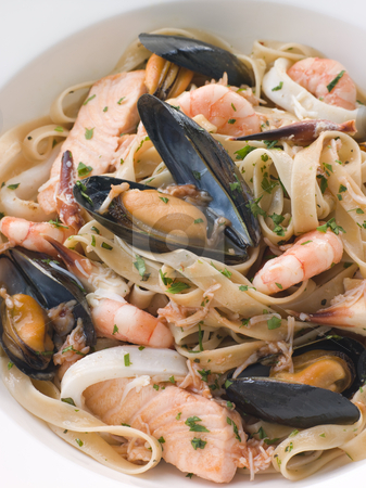 Bowl of Seafood Tagliatelle stock photo,  by Monkey Business Images