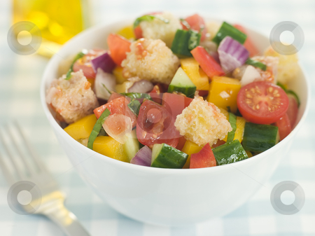 Bowl of Panzanella stock photo,  by Monkey Business Images