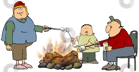 Roasting Marshmallows stock photo, This illustration depicts a man, woman and boy roasting marshmallows over a campfire. by Dennis Cox