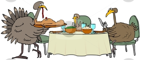 Turkey Dinner stock photo, This illustration depicts a family of turkeys sitting down to a dinner of roast human. by Dennis Cox
