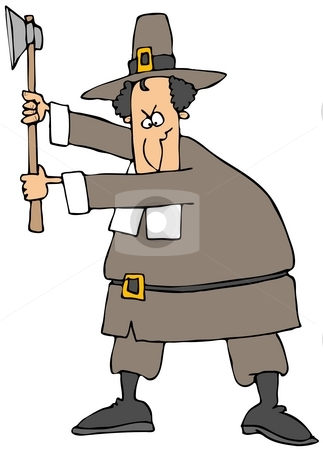 Angry Pilgrim stock photo, This illustration depicts a Pilgrim about to swing an axe. by Dennis Cox