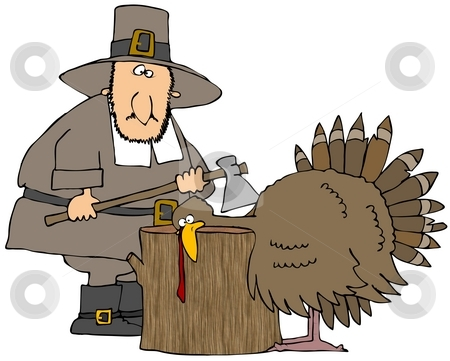 Turkey Head Chop stock photo, This illustration depicts a Pilgrim about to chop the head off of the Thanksgiving turkey. by Dennis Cox
