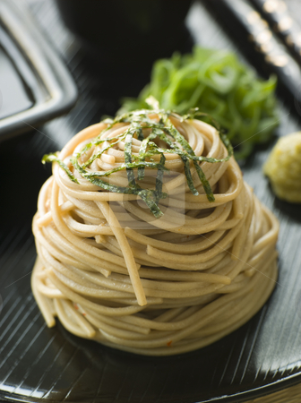 Chilled Soba Noodles With Wasabi and Soy Sauce stock photo, Stack of Chilled Soba Noodles With Wasabi and Soy Sauce by Monkey Business Images
