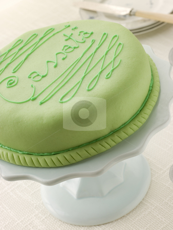 Cassata Cake stock photo, Close up of whole Cassata Cake on stand by Monkey Business Images