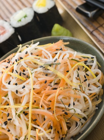 Daikon and Carrot Salad with Sesame Sushi and Wasabi stock photo, Close up of Daikon and Carrot Salad with Sesame Sushi and Wasabi by Monkey Business Images
