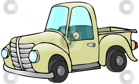 Old Yellow Truck stock photo, This illustration depicts an old yellow pickup truck. by Dennis Cox