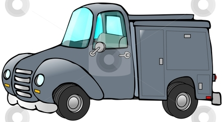Old Blue Work Truck stock photo, This illustration depicts an old blue work truck with tool bins. by Dennis Cox
