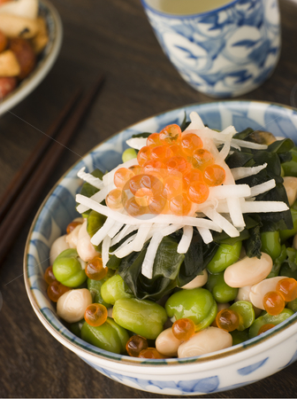 Broad Bean Daikon and Salmon Roe stock photo, Broad Bean Daikon and decorated with Salmon Roe by Monkey Business Images