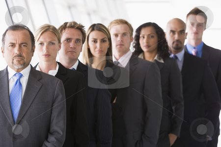 Group of office staff lined up stock photo, Group of office staff lined up facing camera by Monkey Business Images