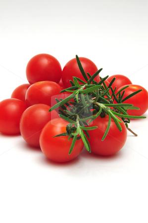 Thyme And Cherry Tomatos stock photo, Closeup of Thyme and Cherry Tomatos on light colored background by Lynn Bendickson
