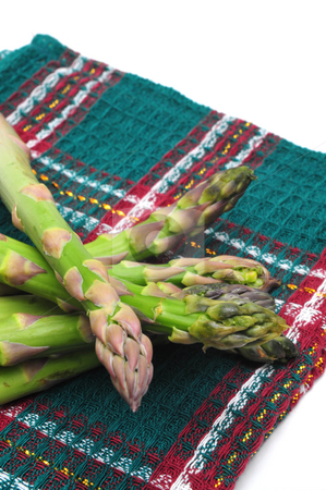 Asparagus Spears stock photo, Fresh harvested Asparagus spears on a light background by Lynn Bendickson